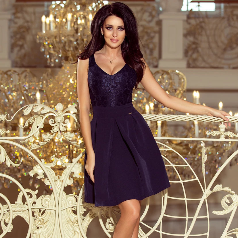208-1 Lace Bodice Fit & Flare Mini Dress with Pockets In Navy