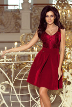 208-3 Burgundy Lace Bodice Fit & Flare Dress with side Pocket