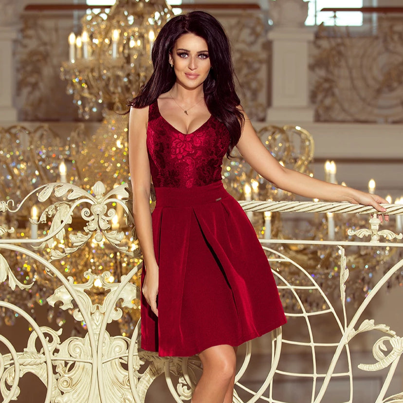 208-3 Lace Bodice Fit & Flare Mini Dress with Pockets In Burgundy