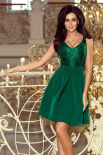 208-4 Green Lace Bodice Fit & Flare Dress with Side Pocket