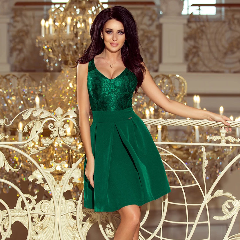 208-4 Lace Bodice Fit & Flare Mini Dress with Pockets In Green