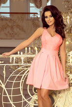 208-5 Pink Lace Bodice Fit & Flare Dress with Side Pocket