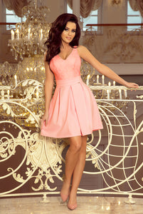 208-5 Lace Bodice Fit & Flare Mini Dress with Pockets In Pink