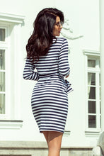 209-1 Stripes Tie Waist Mini Dress In Navy/White