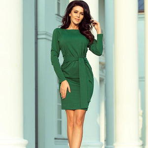 209-2 Tie Waist Mini Dress In Green