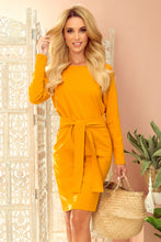 209-8 Tie Waist Mini Dress In Mustard