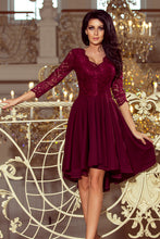 210-1 High-Low Lace Bodice Dress In Burgundy
