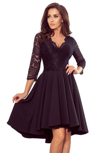 210-10 High-Low Lace Bodice Dress In Black