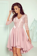 NEW 210-11 Dusty Pink High-Low Lace Bodice Skater Midi Dress