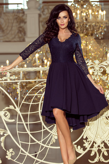 210-2 Navy High-Low Lace Bodice Flared Dress 584aa75ce