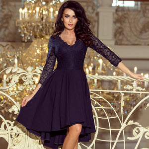 210-2 High-Low Lace Bodice Dress In Navy Blue
