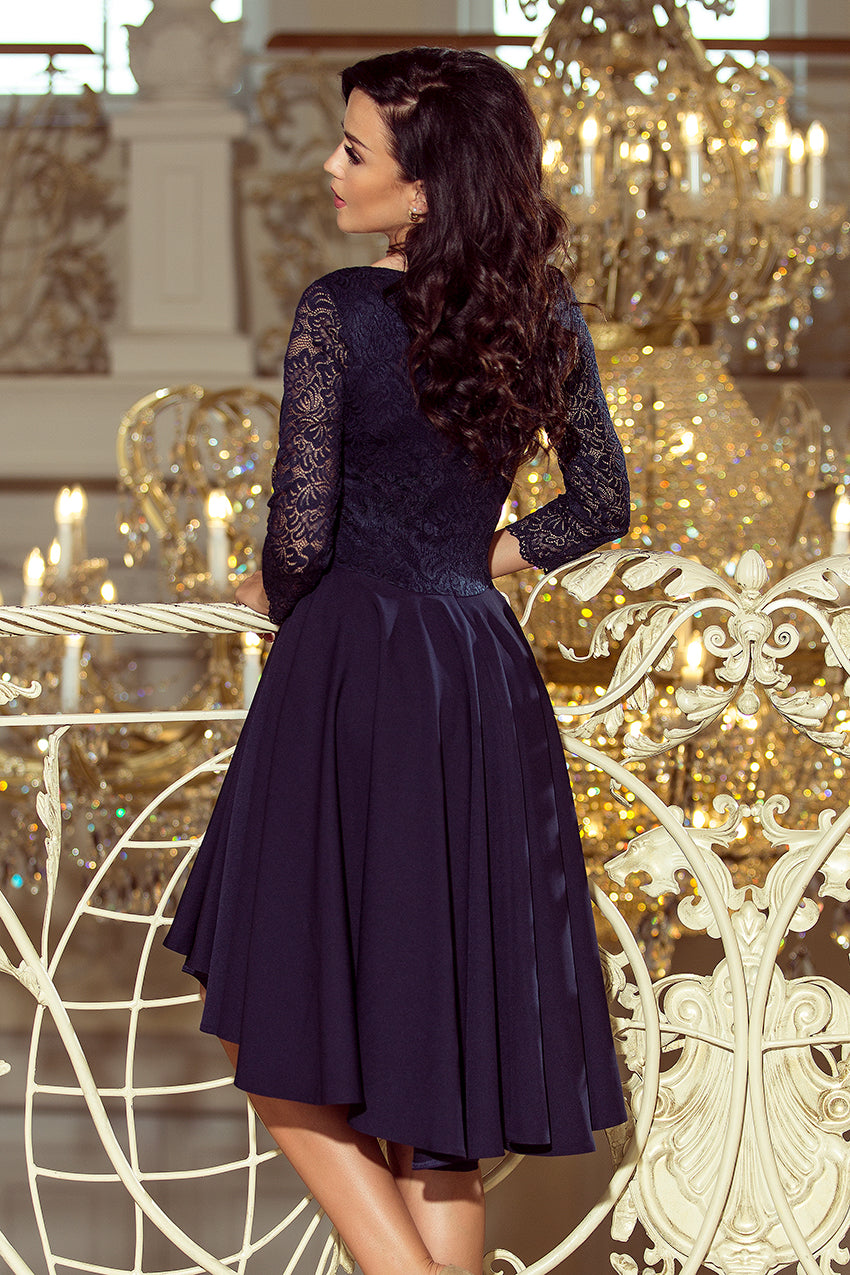 df80780f37 210-2 Navy High-Low Lace Bodice Flared Dress – ellaboutique