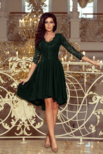 210-3 Green High-Low Lace Bodice Skater  Dress