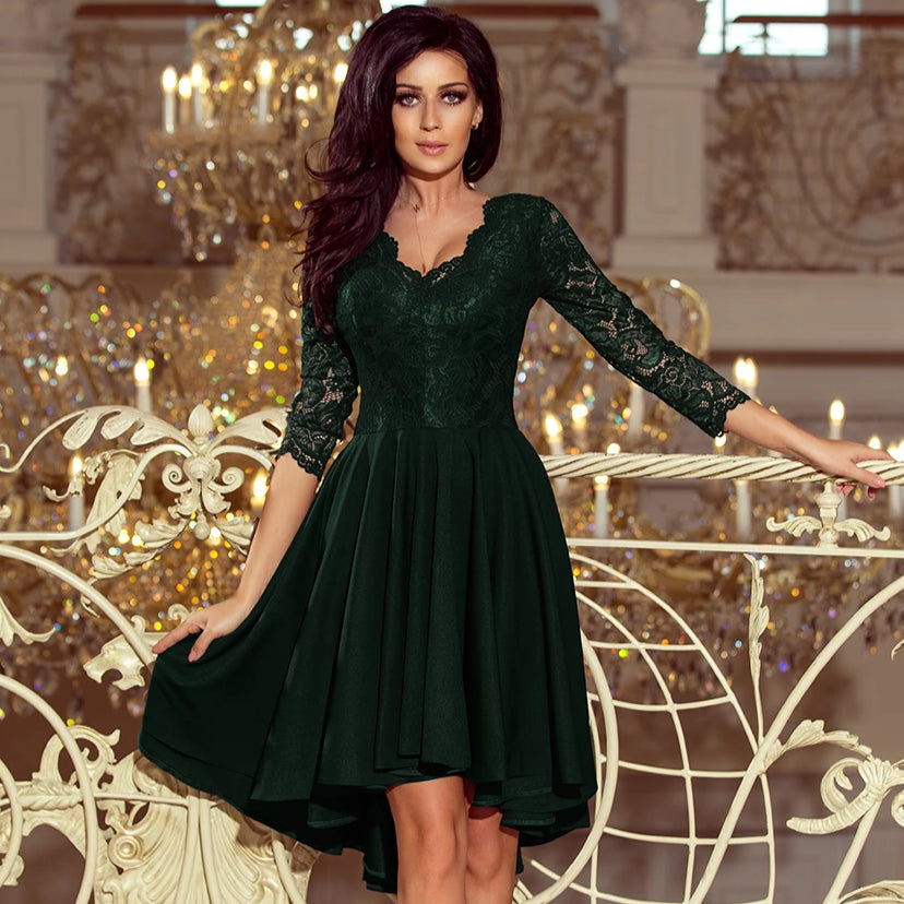 210-3 High-Low Lace Bodice Dress In Green