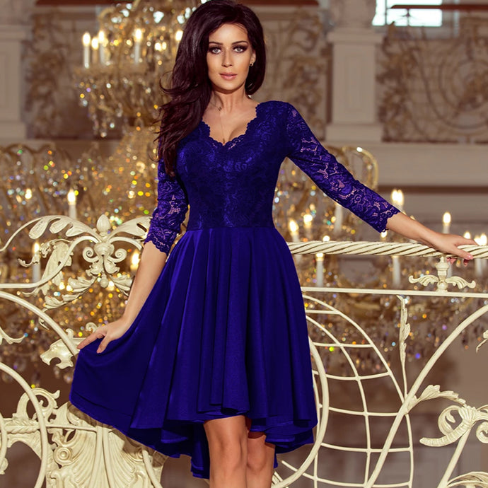 210-4 High-Low Lace Bodice Dress In Royal Blue