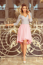 210-5 Gray-Pink High-Low Lace Bodice Skater  Dress
