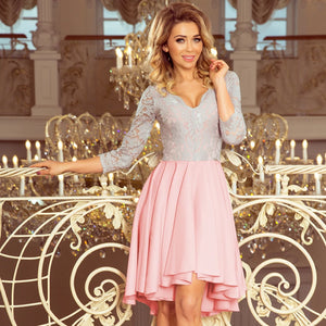 210-5 High-Low Lace Bodice Dress In Grey/Pink