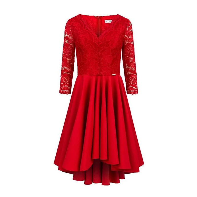 210-6 High-Low Lace Bodice Dress In Red