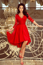 210-6 Red  High-Low Lace Bodice Skater  Dress