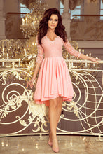 210-7  Pink High-Low Lace Bodice Skater Dress
