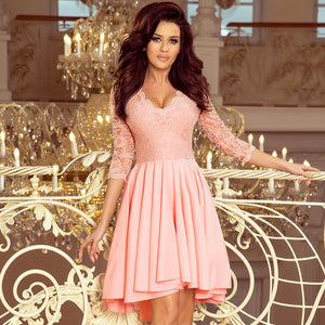 210-7 High-Low Lace Bodice Dress In Pink