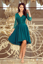210-8 Green High-Low Lace Bodice Skater  Dress