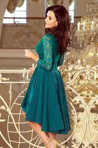 210-8 High-Low Lace Bodice Dress In Green