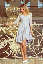 210-9 Gray High-Low Lace Bodice Skater Dress