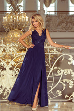 215-2 Navy Slit Maxi Dress with Embroidered Lace Bodice & Cut out Back