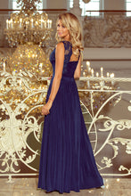 215-2 Slit Maxi Dress with Embroidered Lace Bodice & Cut out Back In Navy Blue