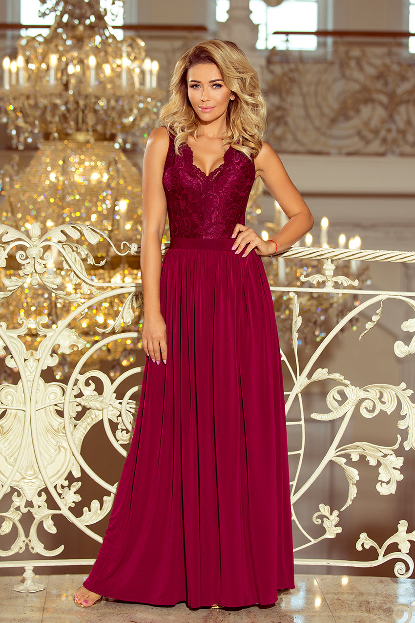 9cf565abac ... 211-2 Burgundy Split Maxi Dress with Lace Bodice & Cut out Back ...