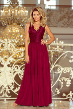 211-2 Slit Maxi Dress with Lace Bodice & Cut out Back In Burgundy