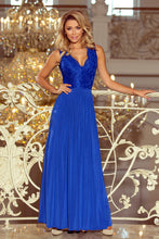 211-3 Royal Blue Slit Maxi Dress with Lace Bodice & Cut out Back