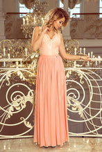 211-4 Peach Slit Maxi Dress with Lace Bodice & Cut out Back