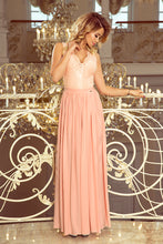 211-5 Pink Slit Maxi Dress with Lace Bodice & Cut out Back