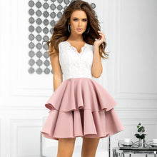 2122-36 Fit & Flare Scuba Mini Dress In Dusty Pink/Ecru