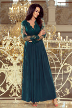 213-1 Green Embroidered Lace Bodice Backless Maxi Dress