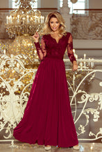 213-2 Burgundy Embroidered Lace Bodice Backless Maxi Dress