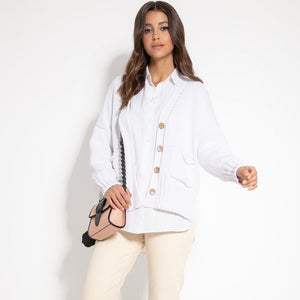 F1063 Recycled Knit Front Pocket Short Cardigan In White