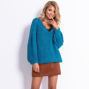 F774 Chunky Knit Oversized Sweater In Blue