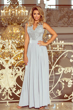 215-1 Gray Slit Maxi Dress with Embroidered Lace Bodice & Cut out Back