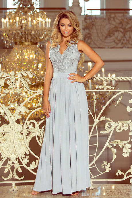 215-1 Slit Maxi Dress with Embroidered Lace Bodice & Cut out Back In Grey