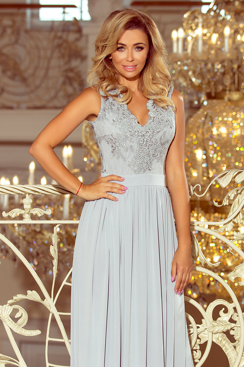 215 1 Gray Slit Maxi Dress With Embroidered Lace Bodice Cut Out Back