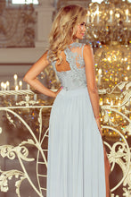 215-1 Slit Maxi Dress with Embroidered Lace Bodice & Cut out Back In Gray