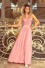 215-3  Powder Pink Slit Maxi Dress with Embroidered Lace Bodice & Cut out Back