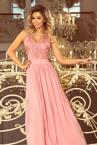 215-3 Slit Maxi Dress with Embroidered Lace Bodice & Cut out Back In Powder Pink