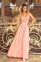 215-4 Pastel Pink Slit Maxi Dress with Embroidered Lace Bodice & Cut out Back