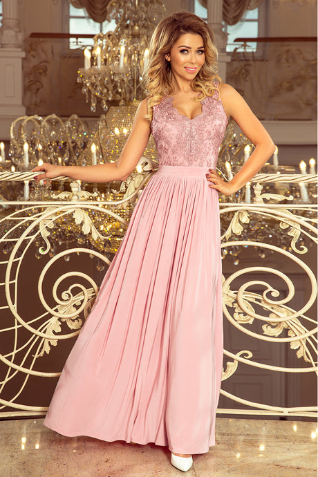 215-5 Slit Maxi Dress with Embroidered Lace Bodice & Cut out Back In Dusty Pink