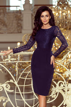216-1 Navy Pencil Dress with Lace Bodice