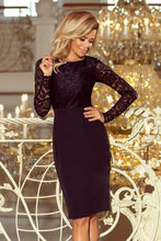 216-2 Black Pencil Dress with Lace Bodice